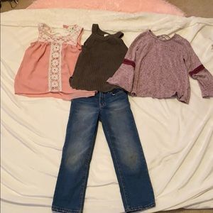 Old navy jeans with three shirts